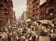 Fruit Stand Framed Prints - Mulberry Street, New York City Framed Print by Everett