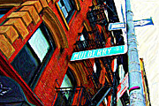 Urban Buildings Posters - Mulberry Street Sketch Poster by Randy Aveille