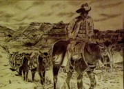 Cowboy Pencil Drawing Prints - Mule Train Print by Yvonne Breen