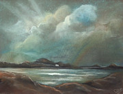 Sea Shore Pastels Prints - Mull from Iona Print by Caroline Peacock