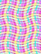 Motif Digital Art Prints - Multi Check Print by Louisa Knight