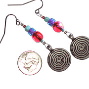 Coin Jewelry - Multi Colored Dangle Earring by Elizabeth Carrozza