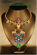 Peridot Jewelry - Multi Coloured Tribal Glass and Crystal Necklace by Janine Antulov