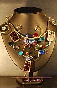 Metal Jewelry - Multi Coloured Wire Sculpture Art Glass Necklace by Janine Antulov