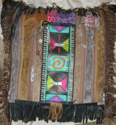 Recycled Materials Framed Prints - Multi-Ethos Indian Decorator Pillow Framed Print by Lorraine Stone