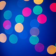 Colored Background Art - Multicolored Defocused Lights On A Blue Background by Gunay Mutlu