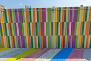 Stripe.paint Posters - Multicolored painted sidewalk and walls. Poster by Andrei Orlov