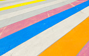 Stripe.paint Posters - Multicolored painted sidewalk Poster by Andrei Orlov