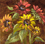 Vic Mastis Paintings - Multicolored Sunflowers with Gold Leaf by Vic Mastis by Vic  Mastis