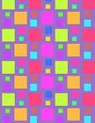 Squares. Linear Posters - Multicoloured Squares Poster by Louisa Knight
