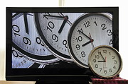 Variation Art - Multiple clocks on TV screen by Sami Sarkis