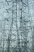 Grid Posters - Multiple Exposure Of Power Pylons Poster by Paul Taylor