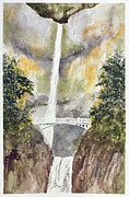 Waterfall Drawings Prints - Multnomah Falls Print by Jean Moule