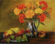 Old Pitcher Painting Prints - Mums and Fruit Print by Aurelia Nieves-Callwood