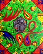 Outsider Art Paintings - Mun Moji-Hookah Monkey by Fareeha Khawaja