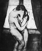 Men Glass Posters - Munch: The Kiss, 1895 Poster by Granger