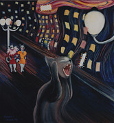 Edvard Munch Posters - Munchs Cat--The Scream Poster by Eve Riser Roberts