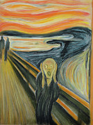 Copy Pastels Posters - Munchs The Scream in Pastel Poster by Jeff Wilson