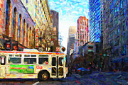 Architecture Prints - Muni Bus Turning Left Onto Market Street Print by Wingsdomain Art and Photography