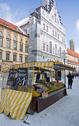 Groceries Framed Prints - Munich Fruit Seller Framed Print by Andrew  Michael