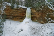Michigan Waterfalls Prints - Munising Falls Frozen Print by Michael Peychich