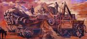 Grande Drawings Framed Prints - Mural 12x90 feet detail Threshing Crew Framed Print by Tim  Heimdal