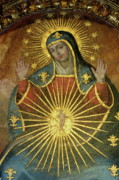 Frescoes Prints - Mural depicting the Virgin Mary inside the Catedral de Cordoba Print by Sami Sarkis