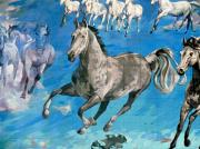 Grande Drawings Framed Prints - mural detail Equus Descending  Framed Print by Tim  Heimdal