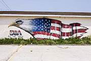 Mural Photos - Mural Of Bald Eagle Merging With American Flag by Simon Willms