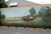 Horse And Buggy Painting Posters - Mural of horse and buggy in Arkansas Poster by Carl Purcell