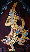 Ramayana Photo Prints - Mural of Ramayana Print by Natthawat Jamnapa