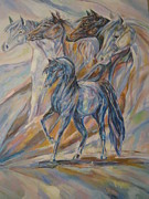 Creation Pastels Posters - Muralled Horses Poster by Scott  Lewis