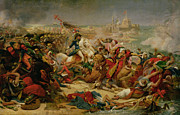 Napoleonic Wars Framed Prints - Murat Defeating the Turkish Army at Aboukir on 25 July 1799 Framed Print by Baron Antoine Jean Gros