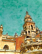 Spain Mixed Media Framed Prints - Murcia Cathedral Framed Print by Sarah Loft