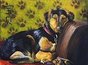 Sleeping Dog Framed Prints - Murphy VI Sleeping Framed Print by Nik Helbig