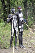 Bodypaint Framed Prints - Mursi Tribe Framed Print by Photostock-israel