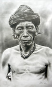 Tribe Drawings Prints - Murut Print by Ramil Roscom Guerra