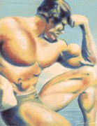 Human Pastels Prints - Muscle Beach Print by Samantha Geernaert