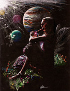 Outer Space Drawings Metal Prints - Muse with Flute Metal Print by Alan Schwartz