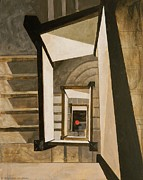 Staircase Painting Originals - Museum Stairs by Micheal Jones