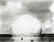A-bomb Framed Prints - Mushroom Cloud Of Water & Radioactive Material Framed Print by Us National Archives