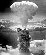 Ww2 Photo Posters - Mushroom Cloud Over Nagasaki  Poster by War Is Hell Store