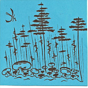 Relaxing Drawings - Mushroom Forest by Carol Shoemaker