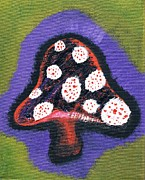 Trippy Paintings - Mushroom Oil Painting by Tiffanie Dye