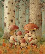 Mushroom Metal Prints - Mushrooms Metal Print by Kestutis Kasparavicius