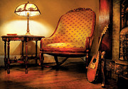 Vintage String Instruments Posters - Music - String - The chair and the lute Poster by Mike Savad