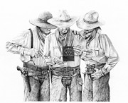 Cowboy Sketches Prints - Music Box Print by Jack Schilder