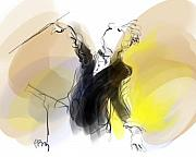 Caricature Drawings Metal Prints - Music Conductor in Yellow Metal Print by Paul Miller