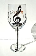 Hand Painted Glassware - Music Glass by Pauline Ross