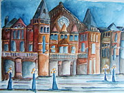 Hall Painting Prints - Music Hall at Dusk Print by Elaine Duras